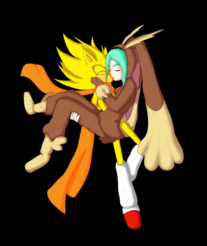 SonMiku: Super Sonic and Lopunny Miku by Skye-Izumi