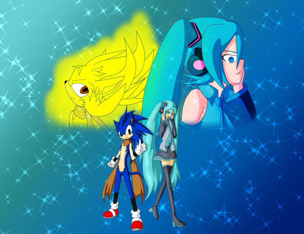 Sonic and Miku by Skye-Izumi