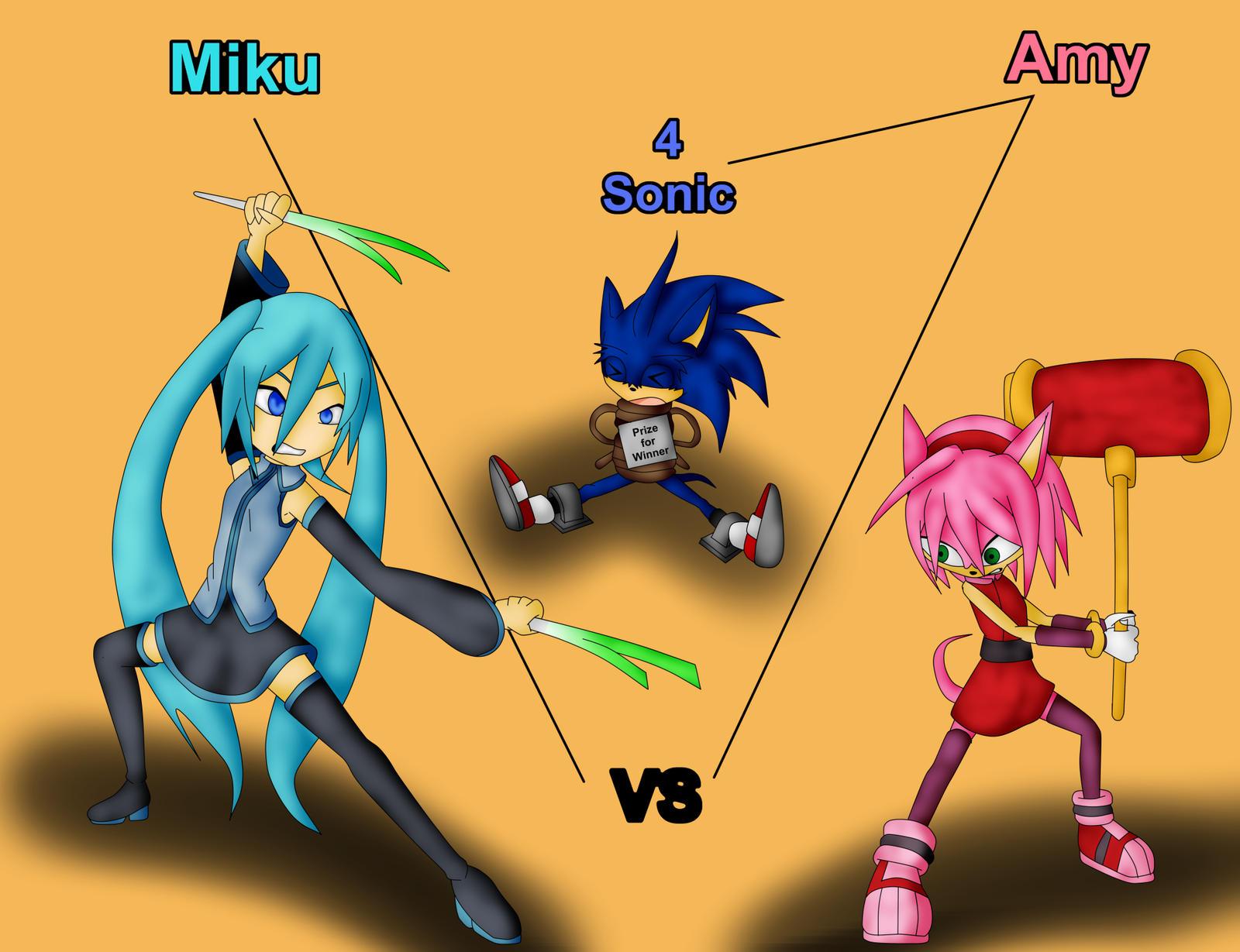Miku vs Amy for Sonic by Skye-Izumi