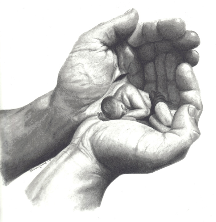 In His Hands by pencil...