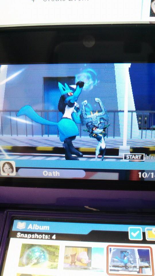 Smash Bros 3DS Screenshot 2: Lucario X Midna by sonicrocker