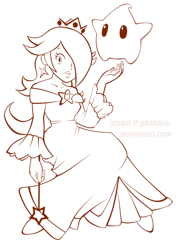 Princess Rosalina Lineart By Pitahaya On Deviantart Chibi Princess Rosalina Free Coloring Sheets