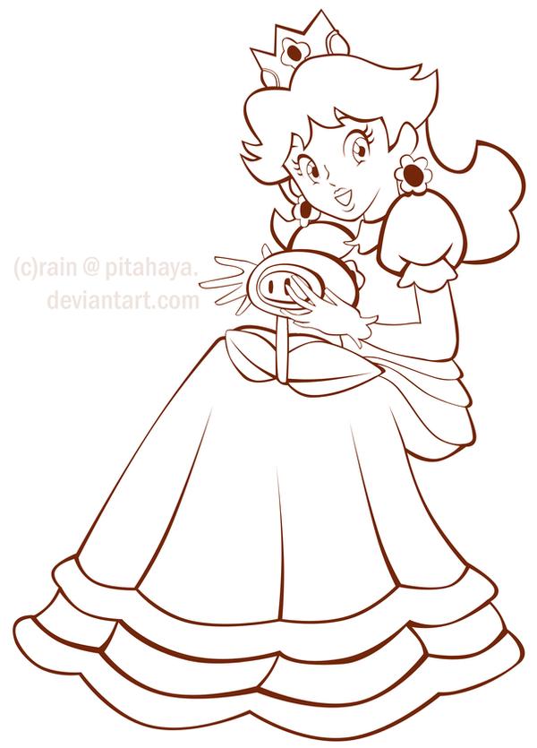 Princess Daisy Lineart By Pitahaya