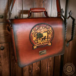 Callahan Briefcase Front by Blackthornleather