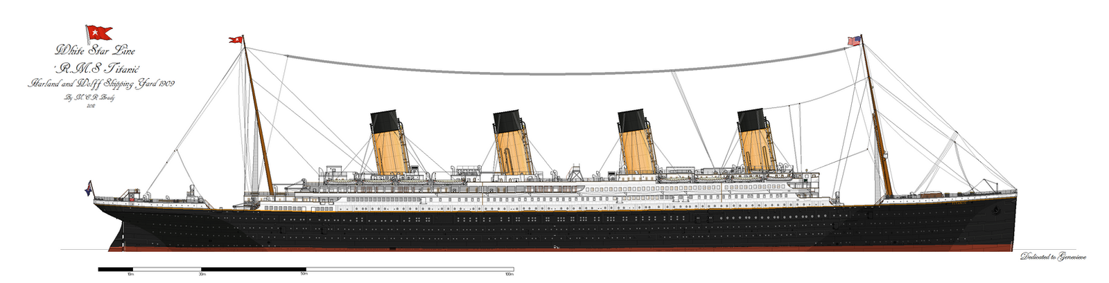RMS Titanic: Waterline Profile. (1912) by alotef