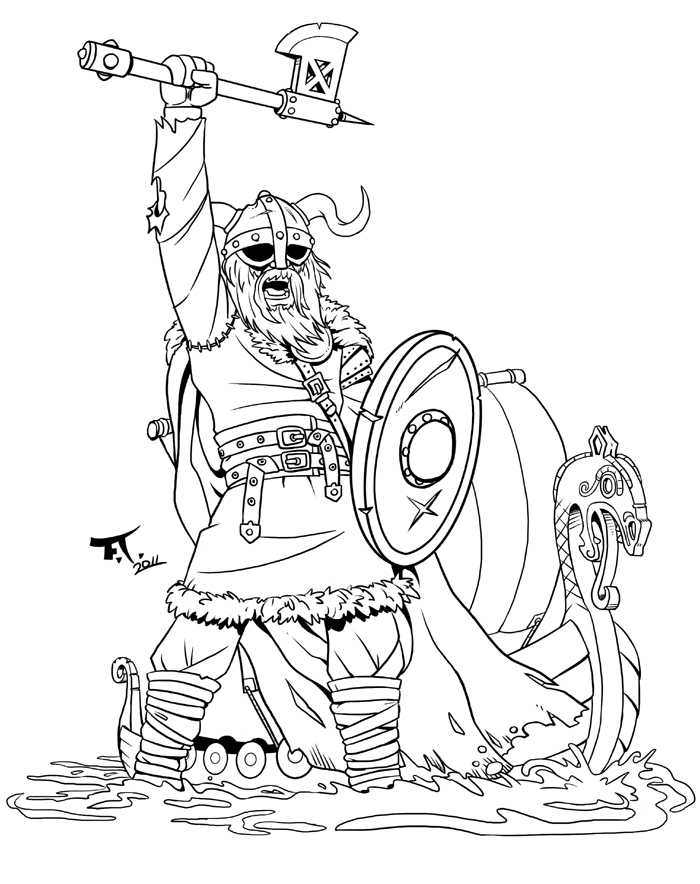 viking coloring page - viking tattoo lineart by psychocaptain on deviantart