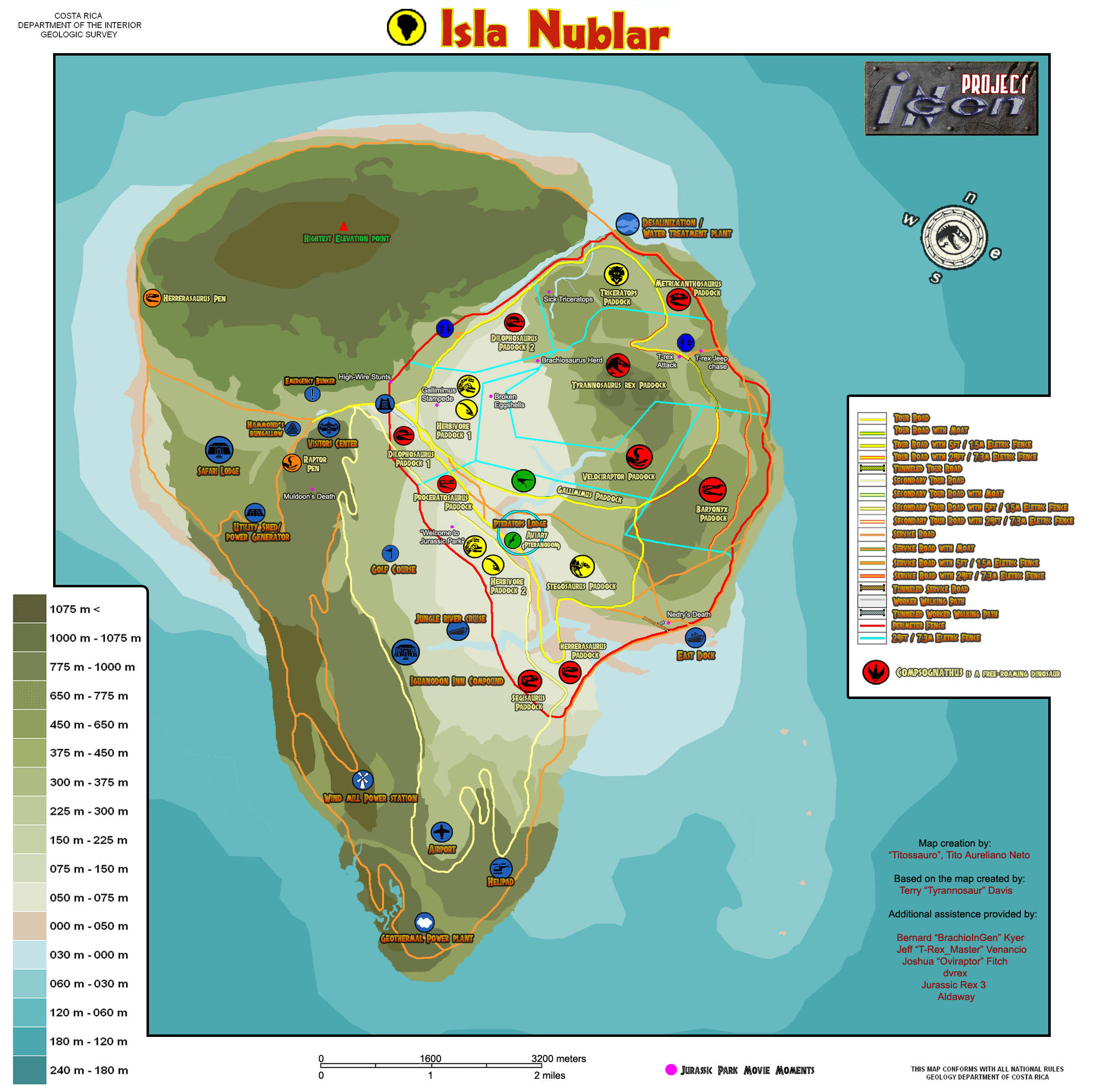 Jurassic Park Isla Nublar Resort Facility map comparison : JurassicPark