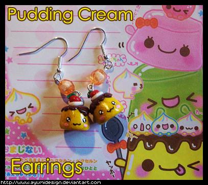 Puddings Cream Earrings by AyumiDesign