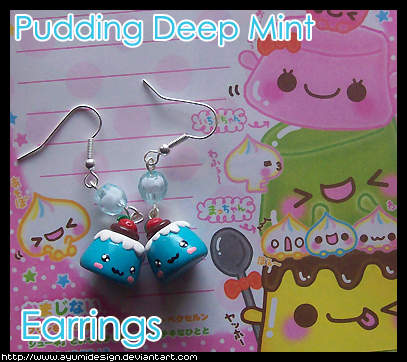 Pudding Deep Mint Earrings by AyumiDesign