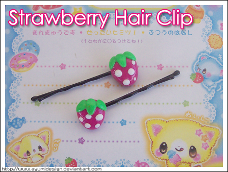 Strawberry Hair Clip by AyumiDesign