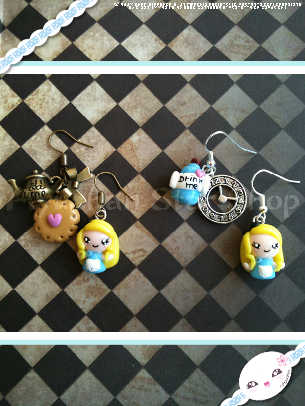 Alice in Wonderland - Tea Party Earrings by AyumiDesign