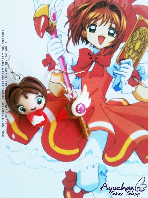Card Captor Sakura - Red Outfit Earrings by AyumiDesign