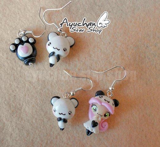 Panda cute Earrings by AyumiDesign