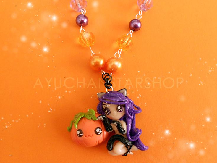 Violet Pumpkin Cat by AyumiDesign