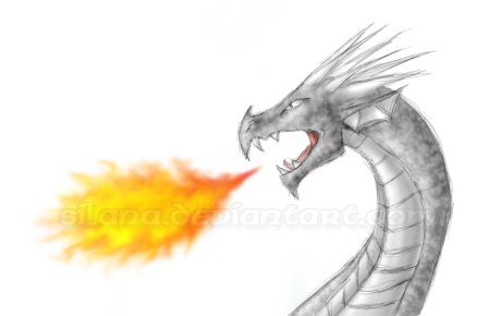 how to draw a easy dragon blowing out fire