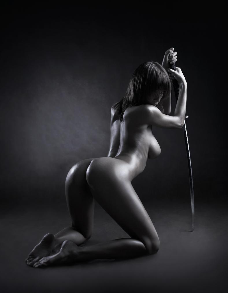 Nude girl with katana sword #4 by lobur