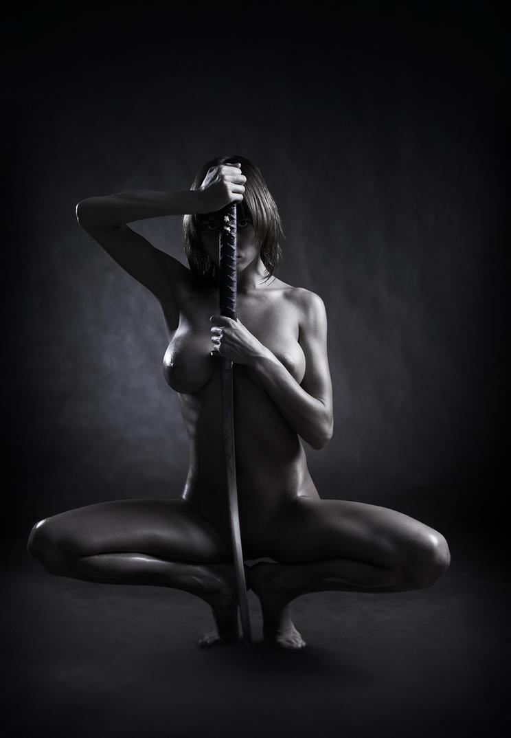 Nude girl with katana sword #5 by lobur