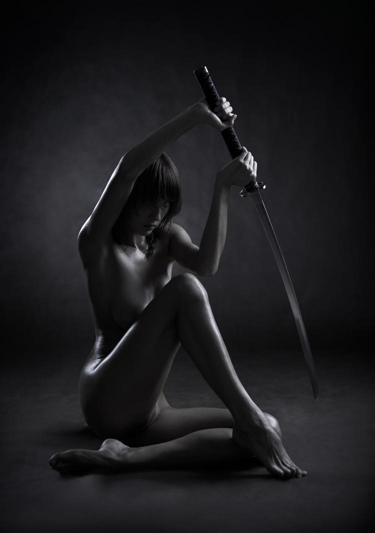 Nude girl with katana sword #6 by lobur
