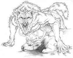 Dyre wolf makes a kill by Emryswolf