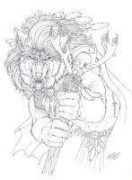 Wendigo Shaman on the Attack by Emryswolf