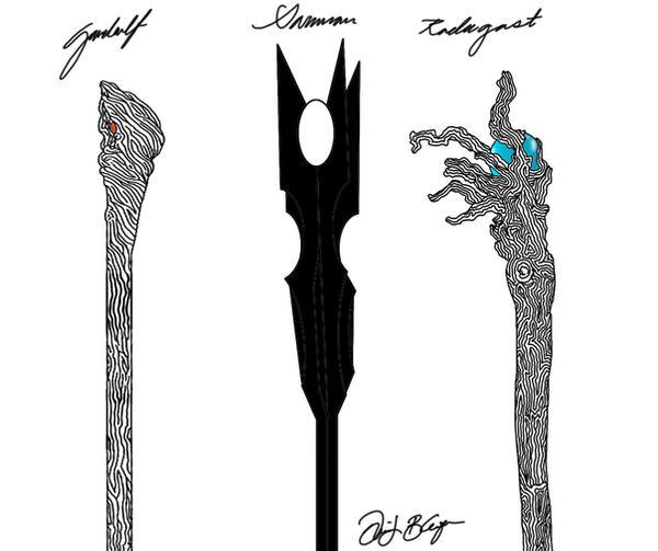 The Staves of Gandalf Saruman and Radagast by DennisB-Art