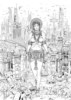 Bangalore Graphic Novel Cover lineart