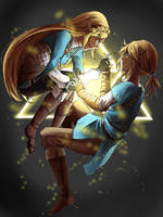 Link and Zelda by Plaguey