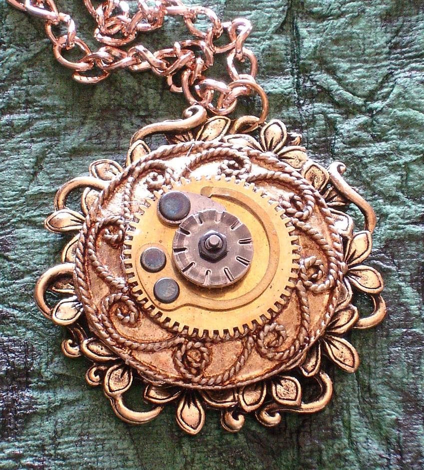 Golden Steampunk Pendant by cjgrand