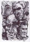 Polygonal Faces ( Ballpoint Art ) by Rafik Emil H