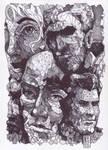 Polygonal Faces ( Ballpoint Art ) by Rafik Emil H