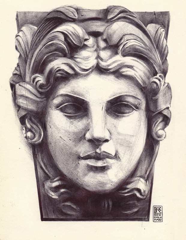 Female statue face Ballpoint Art by Rafik Emil H