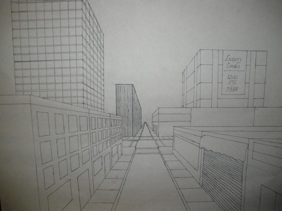 City street: 1-pt perspective by artisticTaurean