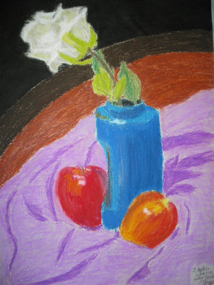 Oil pastel 2 - Fruit+flower by artisticTaurean