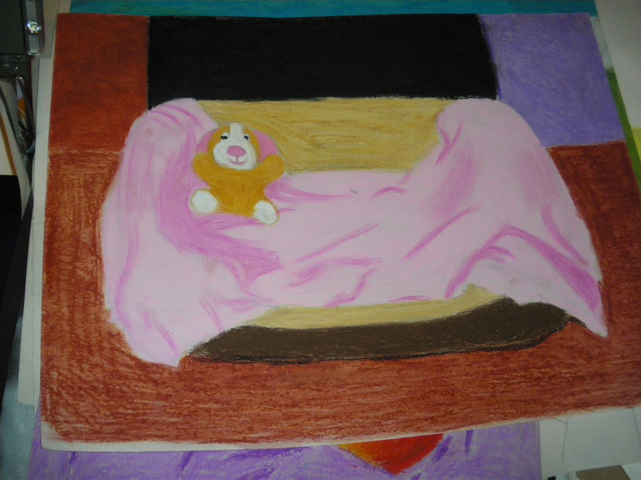 Oil pastel 3 - Oliver's bed by artisticTaurean