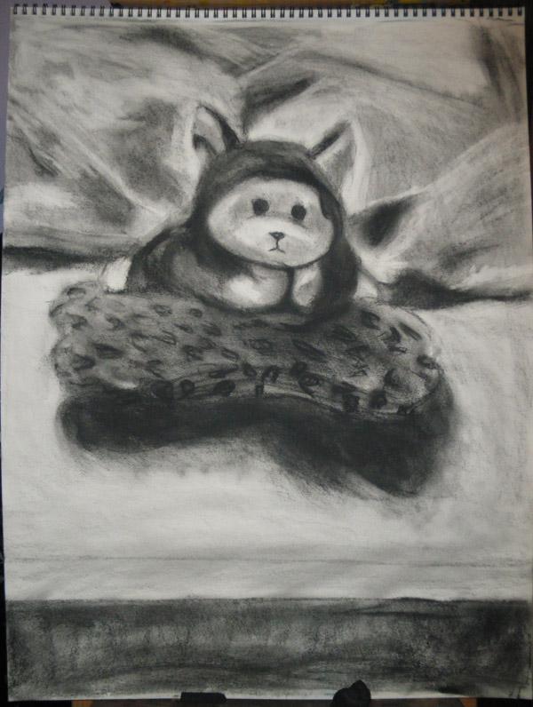 Life Drawing 2 - Puppy + Bone by artisticTaurean