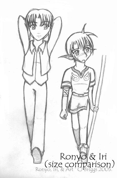 Ronyo and Iri's sizes by artisticTaurean