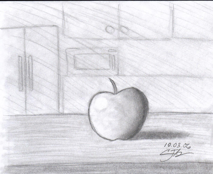 Apple on a table by artisticTaurean