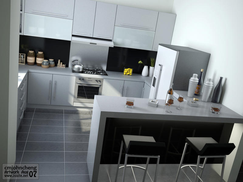 Grey Color Kitchen View1 By Cmjohncheng On Deviantart