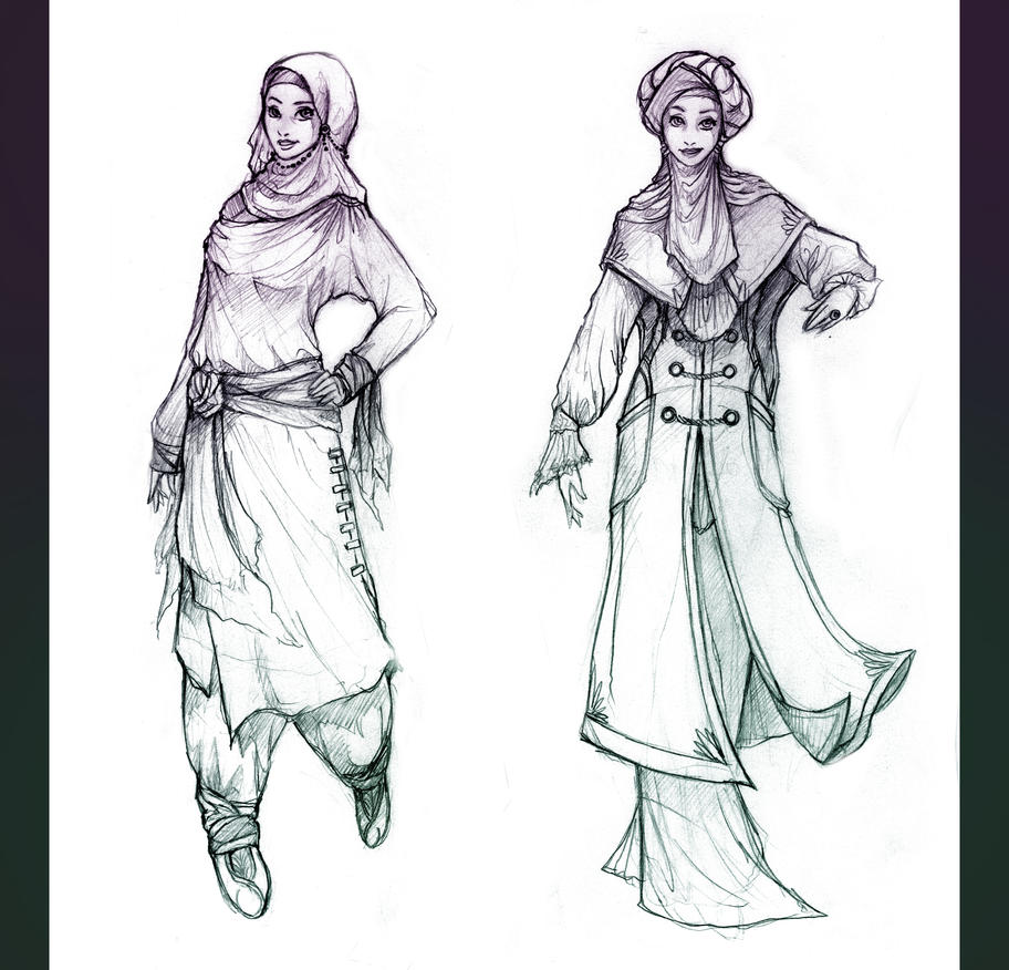 Hijabi Dress Sketches For Fashion Designing