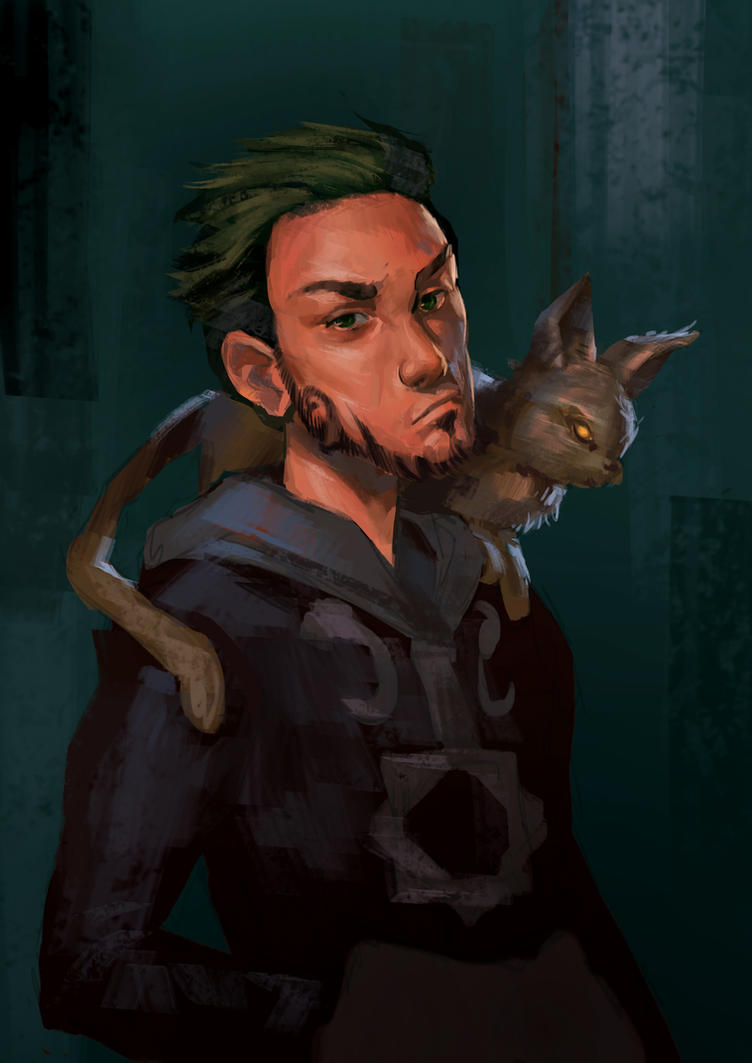 The guy with the cat by WhiteLeyth