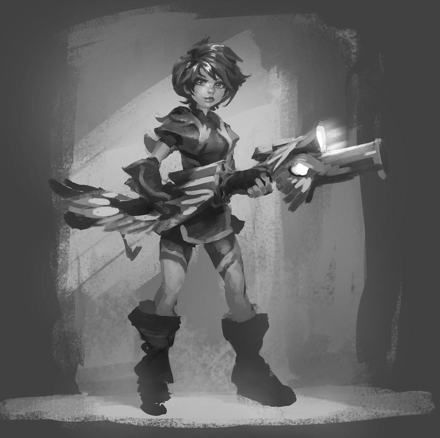 Lunch Sketch: FlyingGun Girl by WhiteLeyth