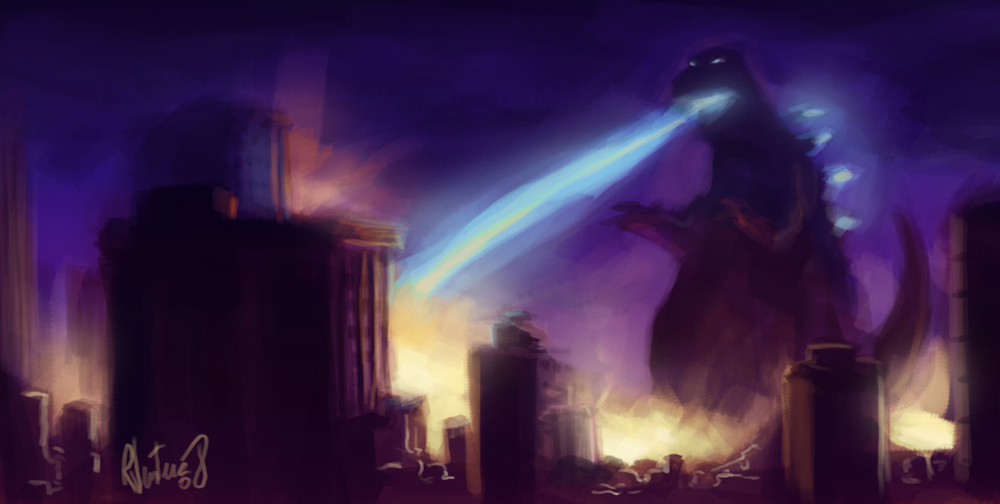 Godzilla speedpainting by rafaelventura