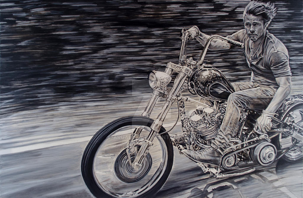 Brad pitt work on demand by arualjay on deviantart for How much to paint a motorcycle