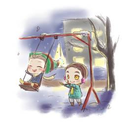 winter Klaine on swings