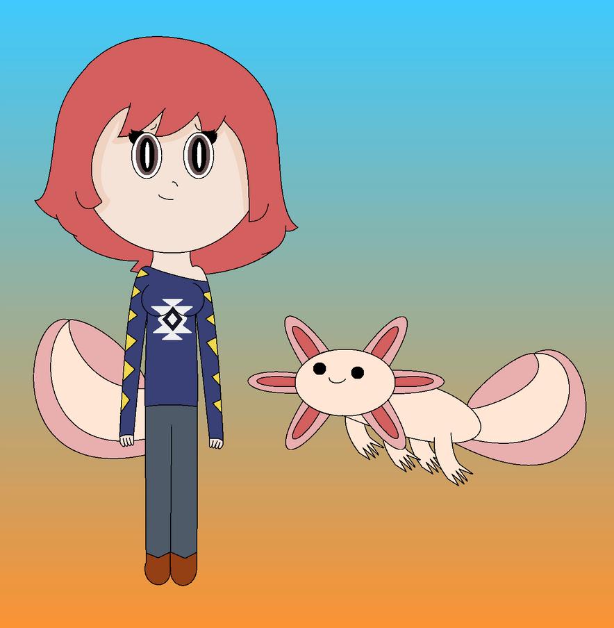 Jade the Axolotl Senshi by AdventureWeirdo