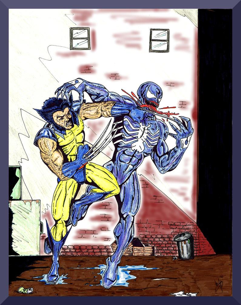 Wolverine fights Venom by Lpsalsaman