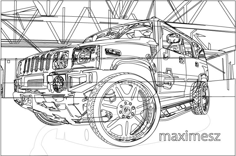 H2 Hummer Coloring Pages: Hummer H2 Outline By Maximesz On DeviantArt