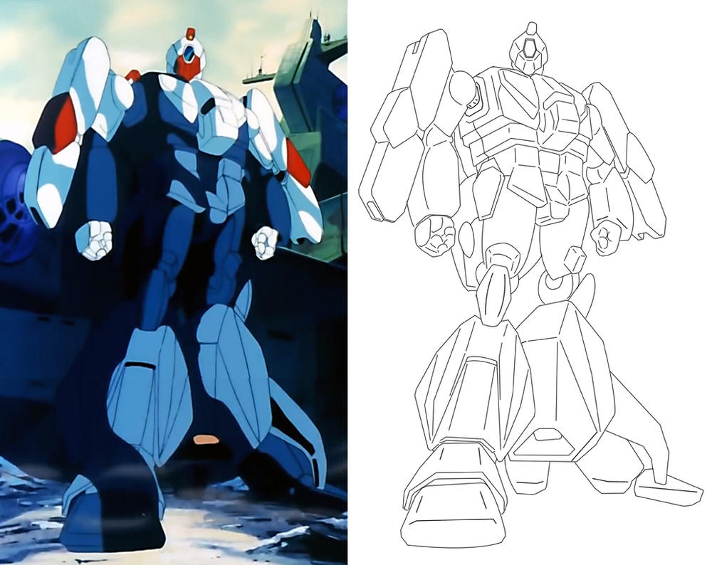 Robotech screenshot outlined. by Graphitedriver001