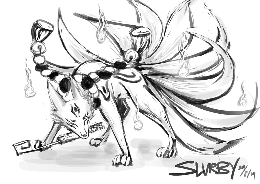 Kyuubi no Kitsune - rough by SilverOceanAlchemist