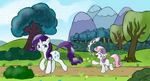 Rarity and Sweetie Belle on a Stroll